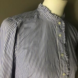 J Crew Button Down with Ruffle Trim. Size 8